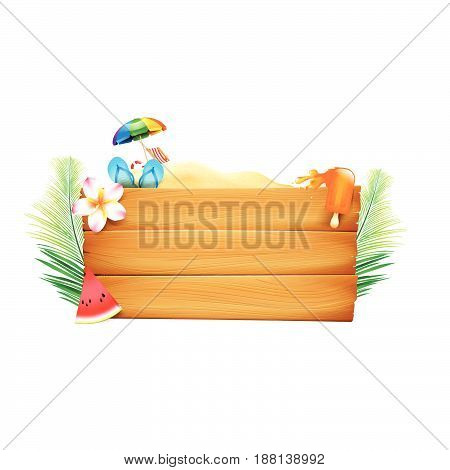 Blank wood board with copyspace and summer beach element vector illustration eps10