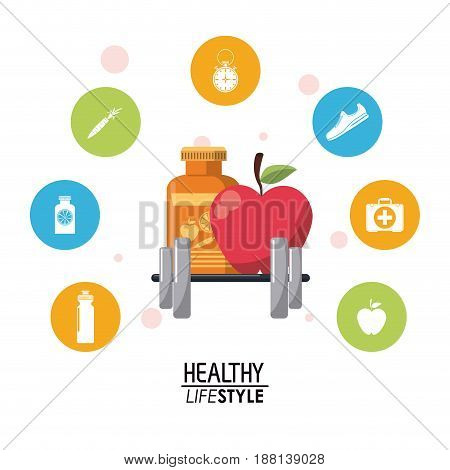colorful poster with elements sport healthy lifestyle and icons bubbles vector illustration