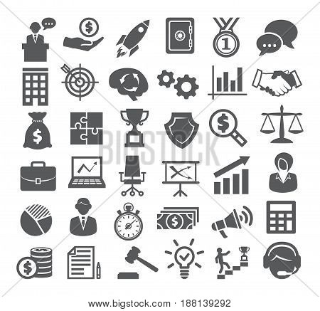 Business icons set. Management, marketing, career finance strategy and office