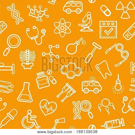 Medicine, orange background, seamless, contour icons, vector. White, line drawings, medical services and instruments on the orange box. Vector background.