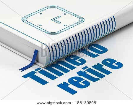 Timeline concept: closed book with Blue Watch icon and text Time To Retire on floor, white background, 3D rendering