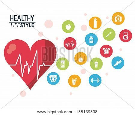 heartbeat rhythm with silhouette healthy lifestyle icons vector illustration