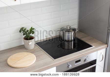 Kitchen Interior With Modern Range And Oven