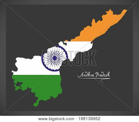 Andhra Pradesh Map With Indian National Flag Illustration