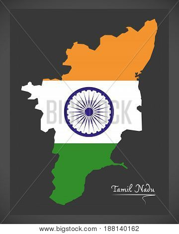 Tamil Nadu Map With Indian National Flag Illustration