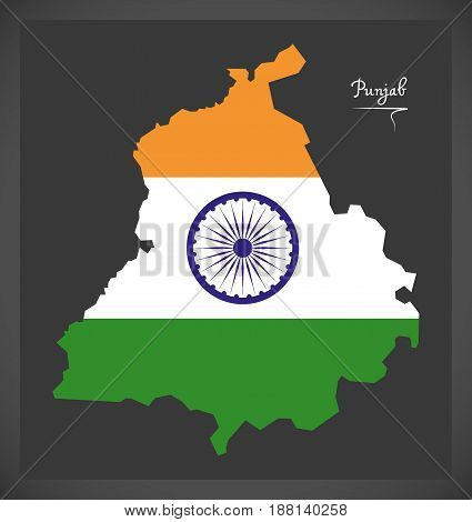 Punjab Map With Indian National Flag Illustration