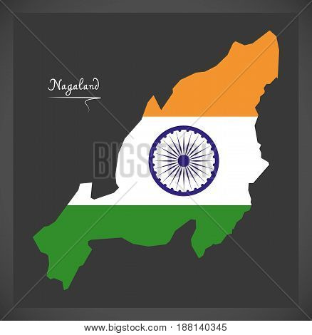 Nagaland Map With Indian National Flag Illustration