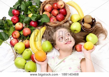 exotic fruit or summer background with small happy girl