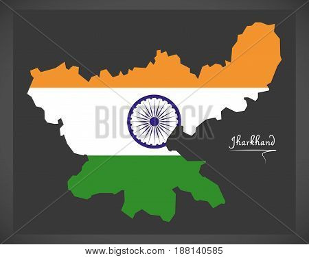 Jharkhand Map With Indian National Flag Illustration