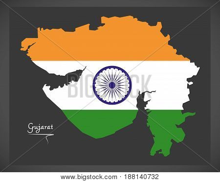 Gujarat Map With Indian National Flag Illustration