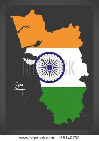 Goa Map With Indian National Flag Illustration