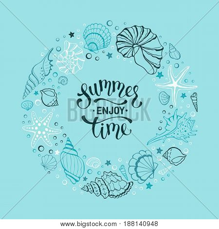 Summer time banner in circle composition. Hand drawn sea shells and stars collection. Marine illustration of ocean shellfish. Seashells contour arranged in circle on blue background.
