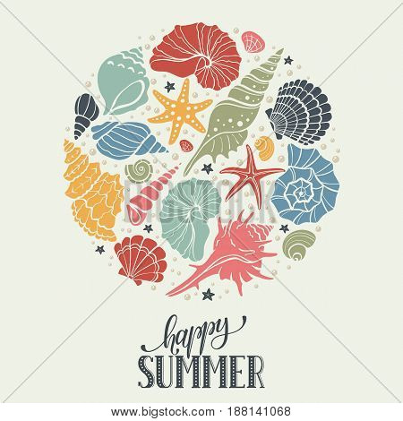 Summer time circle banner. Hand drawn sea shells and stars collection. Marine illustration of ocean shellfish. Colorful seashells arranged in circle shape isolated on light background.