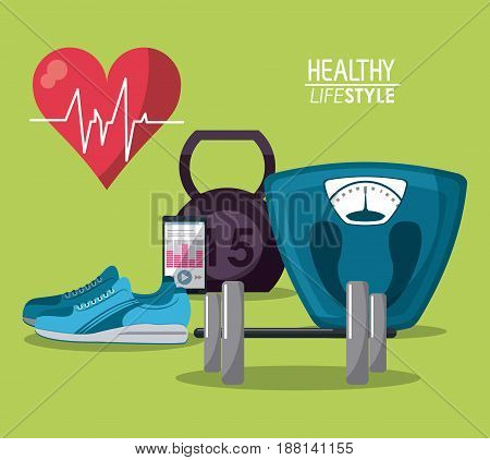 color poster elements sport healthy lifestyle vector illustration