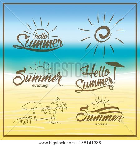 Summer Is Coming Text On Blurred Summer Beach Background. Hand Drawn Palm, Beach Chair And Umbrella.
