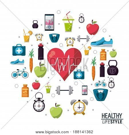 color poster elements sport healthy lifestyle icons vector illustration