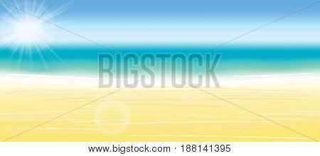 Summer Background Vector Illustration. Blurred Summer Beach, Sun, Sky, Sea, Ocean And Sand. Summer L