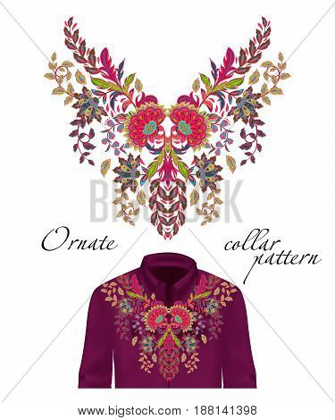 Vector embroidery ethnic flowers neck pattern. Pink green flower design graphics fashion wearing. Presented on the purple shirt layout.
