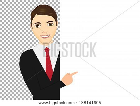 Man pointing her finger up. Male pointing around a sign. Vector illustration. Eps 10