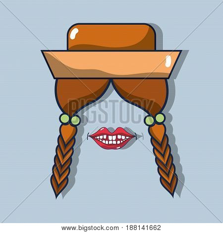 hairstyle, braids, hat and mouth related with festa junina, vector illustration