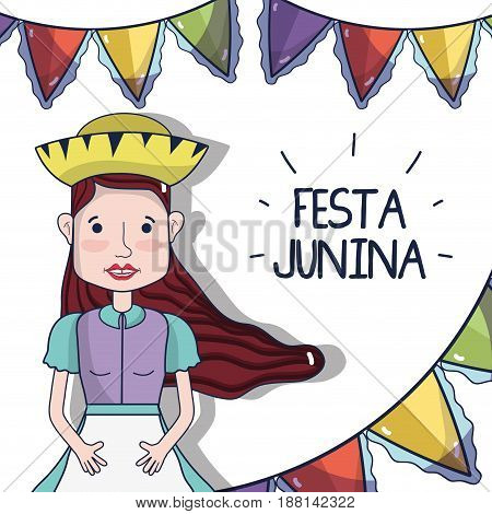 beautiful woman with hat celebrating the festa junina, vector illustration