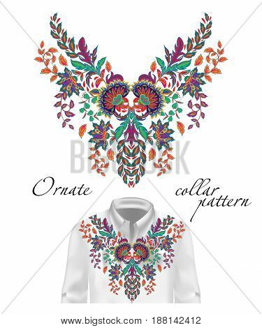 Vector embroidery ethnic flowers neck pattern. Colorful flower design graphics fashion wearing. Presented on the white shirt layout.