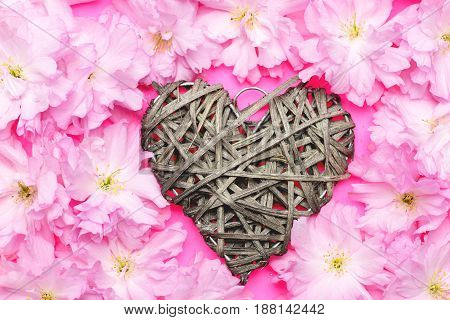 Heart Made Of Grey Willow Threads As Interior Decoration