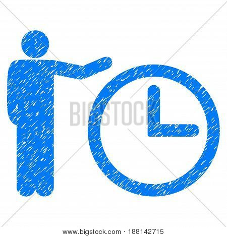 Grunge Time Show icon with grunge design and dust texture. Unclean vector blue pictogram for rubber seal stamp imitations and watermarks. Draft emblem symbol.