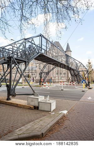 There is a temporary bridge in the beautiful city of Ghent