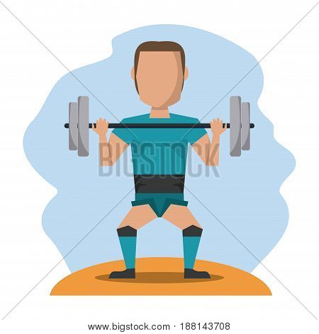 color scene with faceless man lifting weights vector illustration