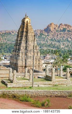 Virupaksha Temple located in the ruins of ancient city Vijayanagar at Hampi, India
