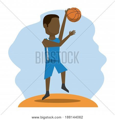 color scene with faceless basketball player vector illustration