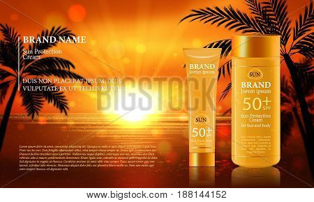 Sun Protection Cream ads. Vector Illustration with sun protection tube.
