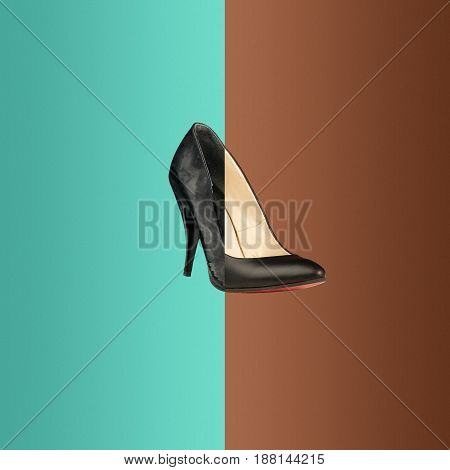 The collage from old and new black shoe for woman on colored background