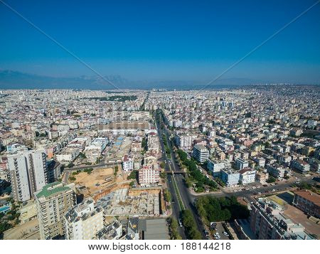 top view photo of city center of antalya