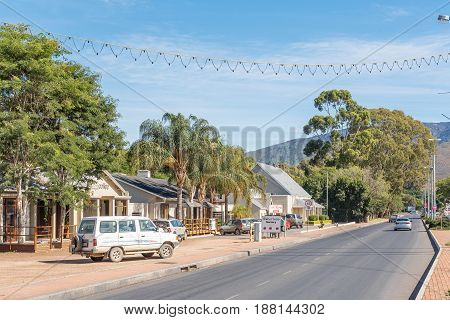 ROBERTSON SOUTH AFRICA - MARCH 26 2017: A street scene in Robertson a town on the scenic Route 62 in the Western Cape Province