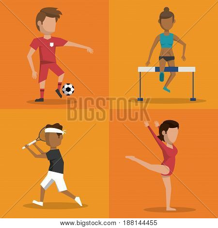 multicolored square buttons set of athletes of differents sports vector illustration