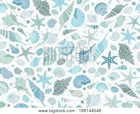 Summer time horizontal banner. Hand drawn sea shells and stars collection. Marine illustration of ocean shellfish. Colorful seashells arranged in stripe isolated on dark background.