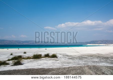 White Sandy Beach And Sky In Lake Salda Turkey