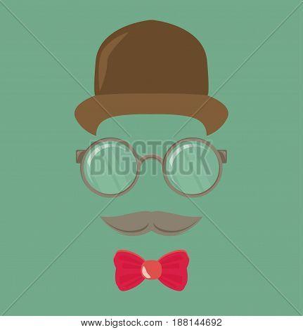 Vintage gentleman portrait in flat style vector