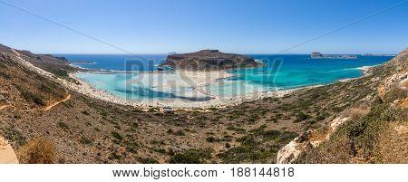 Panoramiv view of Balos beach. The west coast of the peninsula Gramvousa. The island of Crete. Greece.