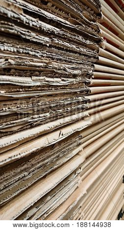 Side View Of  Corrugated Cardboard Pile In A Factory