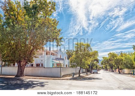 ROBERTSON SOUTH AFRICA - MARCH 26 2017: A street scene with an hotel in Robertson a town on the scenic Route 62 in the Western Cape Province