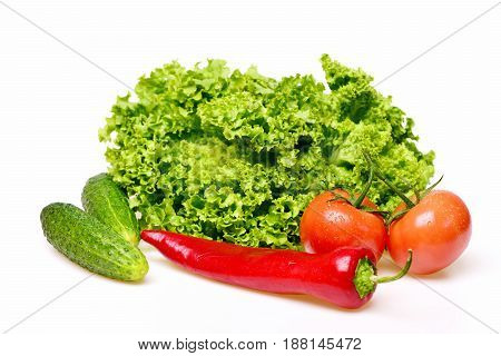 Pepper, Leafy Vegetables Or Lettuce Leaf With Tomatoes And Cucumber