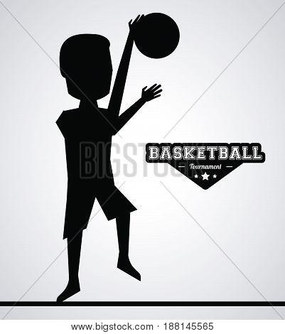black silhouette faceless basketball player vector illustration
