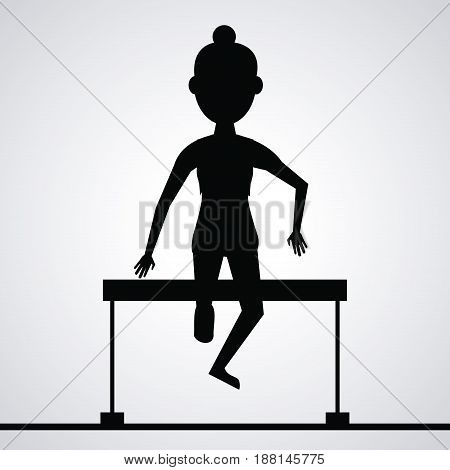 black silhouette faceless athlete woman jumping a fence vector illustration