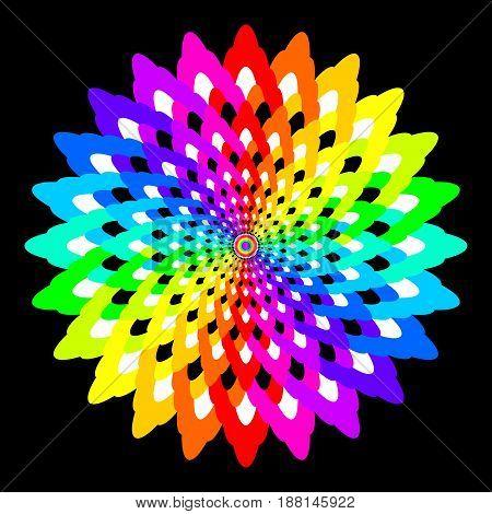 Abstract rainbow colored mandala, Flower isolated on black background, Fractal colorful bloom, Multicolor esoteric petal mandala