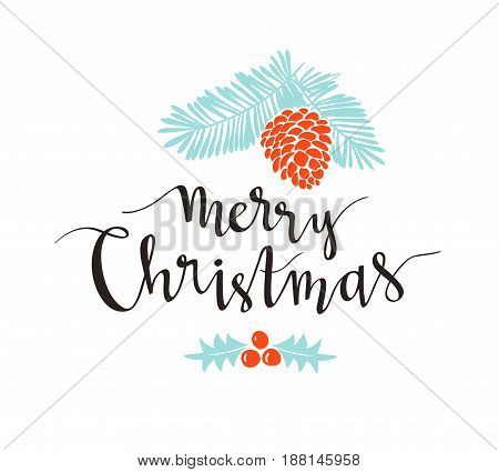 Christmas sprig of pine with holiday lettering - Merry Christmas. Vector illustration for greeting cards invitations and other printing projects.