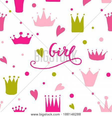 Vector Pattern Of Hand Drawn Crowns And Hearts For Young Princess.
