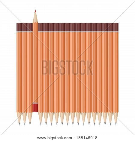 Single red pencil in opposite from many lead pencils. Bussiness strategy. Competition, opposition. School supplies concept. Vector illustration